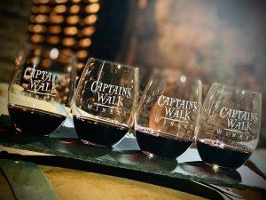 Glasses of Captain's Walk wine