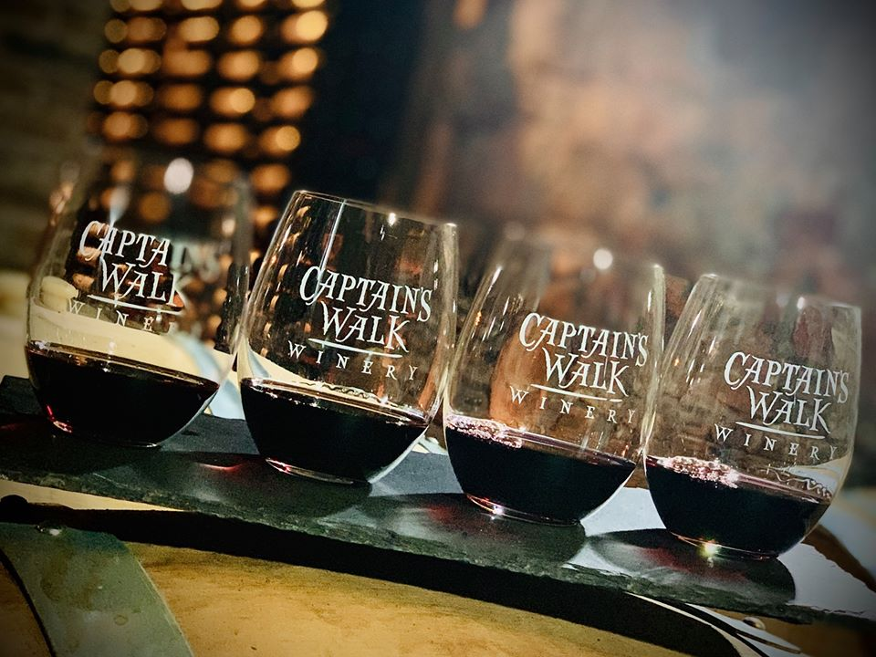 Glasses of Captain's Walk wine